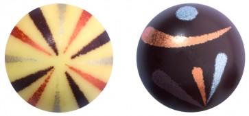 Boules tricolores Boules tricolores - Chocolat noir et blanc  Diamètre 30 mm