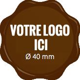 Plaque chocolat à personnaliser label 40 mm