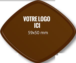 Plaque chocolat à personnaliser losange 59 x 50 mm